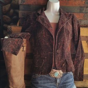 Paisley Brown Corduroy Fitted Blazer Jacket